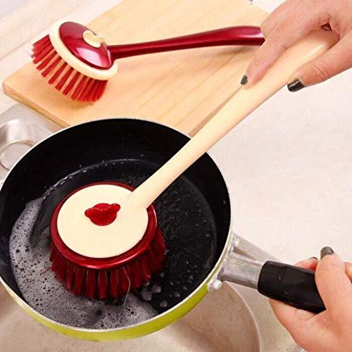 WJSW Kleine nützliche Werkzeuge für Küche Langen Griff Topf Geschirr Teller Waschbürste Spüle Arbeitsplatte Reinigungswerkzeug - zufällige Farbe
