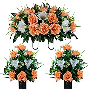 Sympathy Silks Artificial Cemetery Flowers – Realistic Vibrant Roses, Outdoor Grave Decorations – Non-Bleed Colors, and Easy Fit -2 White Amaryllis & Peach Rose Bouquet with Saddle