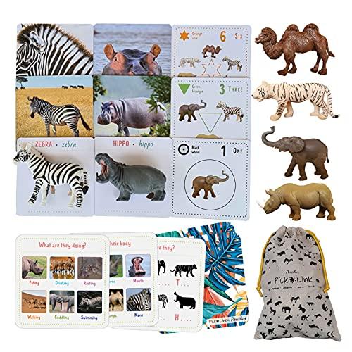 Percilun Pick&Link, Montessori Spielzeug Ab 2 Jahre, Tiere Spielzeug, Lernkarten Kinder, Lernspiele Ab 2 Jahre, Spielzeug Ab 3 Jahre, Vorschule Flashcards Montessori Karten. (6 Tiere, 30 Karten.)