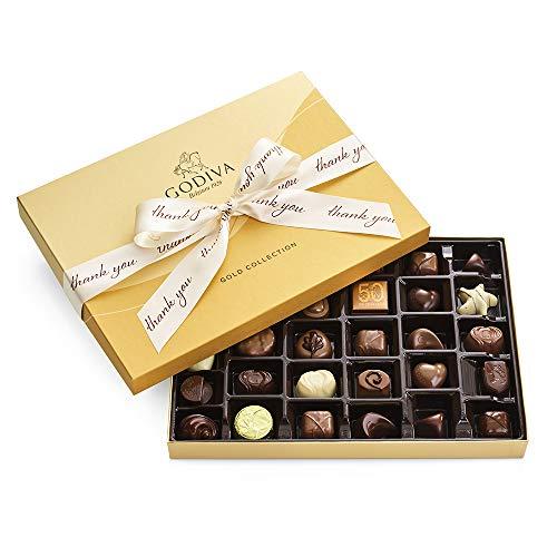 Godiva Chocolatier Assorted Chocolate Truffles Gold Gift Box, Thank You Ribbon, 36-Pieces