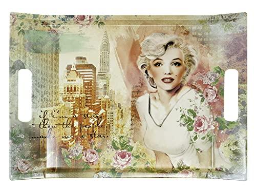 Lashuma Ontbijtdienblad kleurrijk design: Marilyn, hoekig servies dienblad, melamine dienblad 38x27 cm