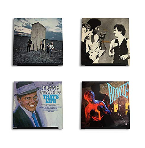 Hudson Hi-Fi LP Vinyl Record Wall Display | Black Satin | Display Your Daily Listening in Style | Four Pack