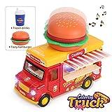 REMOKING Auto Spielzeug Legierung Fahrzeug, Kinder Auto Zurückziehen, Rot Speisewagen mit Musik und Lichtern (Hamburger + Cola)
