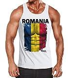 MoonWorks EM Tanktop Herren Fußball Rumänien Romania Flagge Fanshirt Waschbrettbauch Muskelshirt weiß L