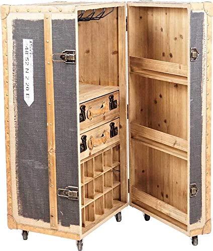 Bar Koffer Barschrank im Vintage Look, Stoff - kleine Bar fürs Wohnzimmer