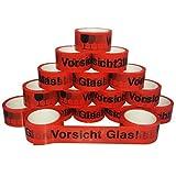 12x Klebeband 50mm x 66m 'Vorsicht Glas' Hinweis rot akryl