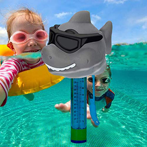 Floating Pool Thermometer,Large Display Easy to Read,Cute Animal Floating Thermometer with Lanyard for Baby Bath Outdoor & Indoor Swimming Pools,Spas, Hot Tubs, Jacuzzis & Aquariums(Sunglasses-Shark)