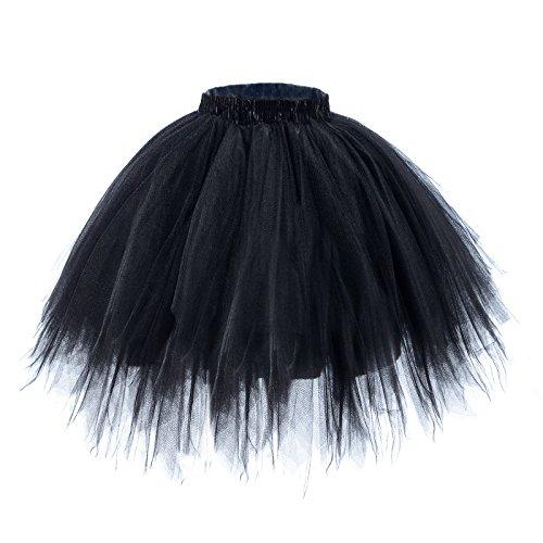 AWAYTR Adult Tutus Skirts for Women - 4 Layers Tutu Skirt for Halloween Costume (Black, Large/X-Large)