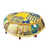 maniona Crafts–32'redondo amarillo redondo puf Patchwork decorativo Cojín...