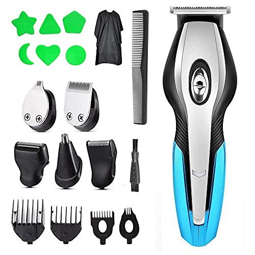 Cortadora de cabello para hombres, multifunción 6 en 1, afeitadora eléctrica y recortadora de nariz, kit de afeitadora eléctrica recargable por USB