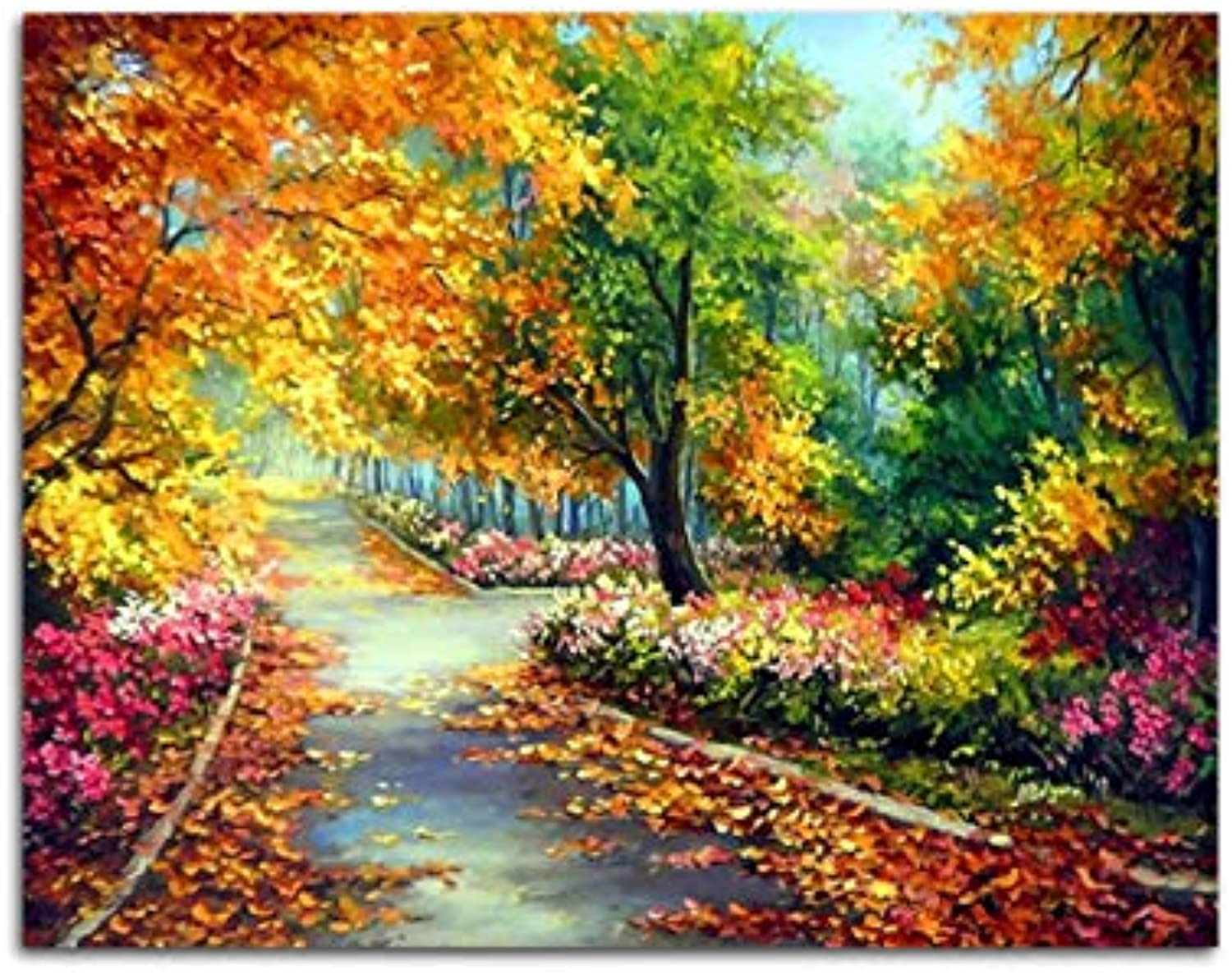 DIY coloring Picture Oil Painting By Numbers Forest Trail Landscape Calligraphy Canvas UnFor Living Room Drawing Wall Art, Framed, 50x60cm