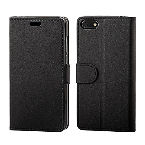 KZIOACSH Cover Huawei Y5 2018, Flip Case Portafoglio Cover con Porta Carte, Funzione Stand, Custodia per Huawei Y5 2018, Nero