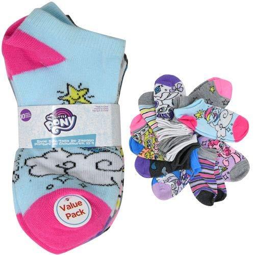 10-Pack My Little Pony No-Show Socks,Little Girls Shoe Size 7-10, Sock Size 4-6