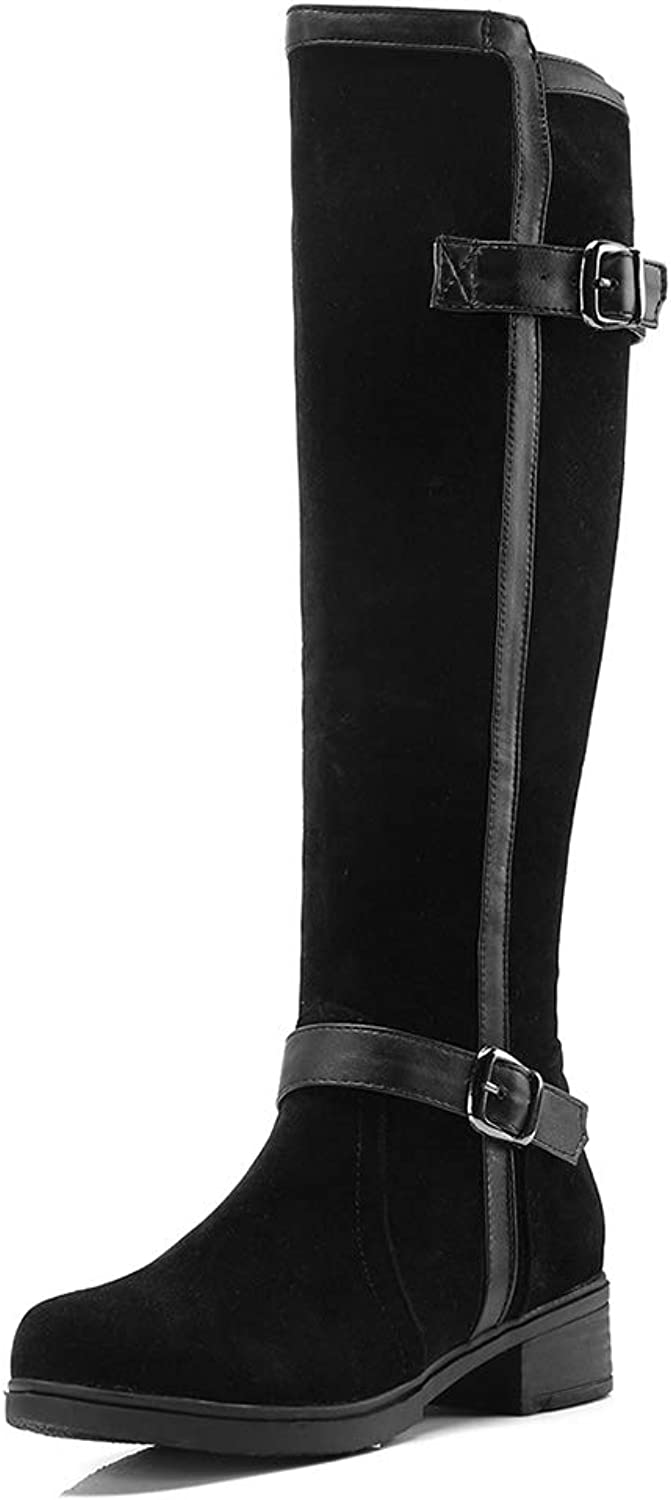 Women Knee High Boots Square Heel Buckle Round Toe Suede Faux Riding Walking Casual Black Long Boot