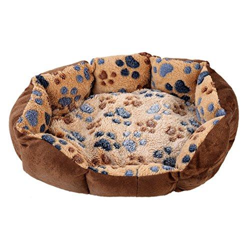 Cama para mascotas, perro, cachorro, gato, color gris, con forro polar suave y cálido