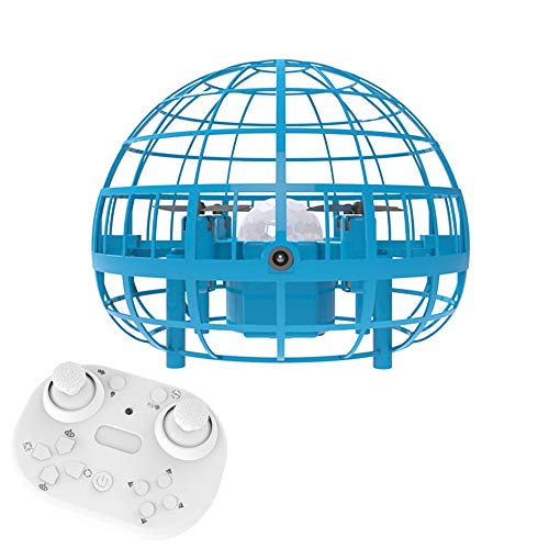 MODEO Mini Drone Flying Toy 2 Pices Set, Hand Controlled Drones with Remote Control Kids Hand Operated Flying Ball Drone for Over 4 Years Old Boys and Girls,Blue