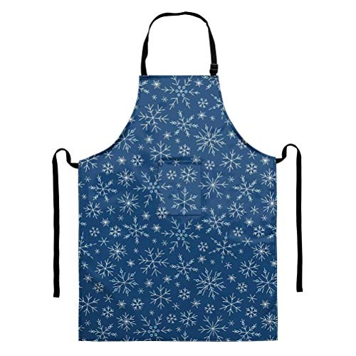 GOSTONG Snowflake in Blue Aprons for Women Home Kitchen Apron Unisex Apron Men Dining Cooking Aprons Clearance Gardening Aprons Pocket Adult BBQ Aprons Dress Cleaning Party Gifts