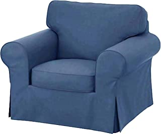 The Heavy Cotton Ektorp Chair Cover Replacement is Custom Made for Ektorp Armchair Cover, A One Seat Sofa Slipcover Replacement (Blue)