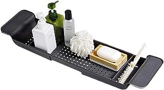 BlueSpace バスタブトレイ キャディ ラグジュアリー シャワーオーガナイザー トレイ 本とワインホルダー付き 拡張サイド バスルーム装飾 (グレー)