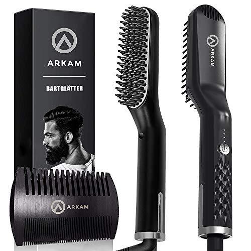 Arkam Premium Ionen Bartglätter für Männer mit Bartkamm - Elektrischer Bartkamm für Herren - Glätteisen für Herren - Bart Stylingkamm und Haarglätter - Hochwertige Bürste