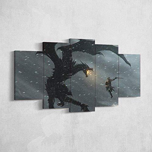 YUXIXI The Elder Scrolls Skyrim Viking - Juegos Canvas Set De 5 Cuadros Cuadro En Lienzo Detrás De La Cortina, Arte para Pared, Cuadro Impresión, Cuadro Decoración 150 X 80 Cm*/