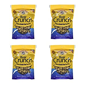 Charlee Bear Crunch Bacon & Blueberry Flavor Dog Treat and Snack (4 Pack) 8 oz Each
