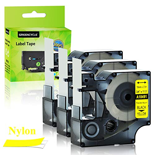 "GREENCYCLE 3PK Industrial Flexible Nylon Label Tapes Compatible for Dymo 18491 Black on Yellow IND 19mm 3/4"" 11.5ft 3.5m Work with DYMO Rhino 4200 5000 5200 6000 3M PL200 PL300 ILP 219 Label Maker"