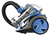 VYTRONIX Powerful 800W Cyclonic Bagless Cylinder Vacuum Cleaner, Compact, Lightweight, Quiet, Large 2L Bin Capacity, Carpet and Hard Floors, Hepa Filter, Blue/Silver