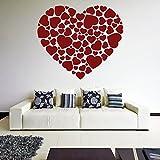 (80 x 71 cm) diseño de corazones con una altura máxima de vinilo adhesivo decorativo para pared con forma de...