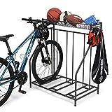 Soporte para bicicletas, soporte para estacionamiento en el piso para 3 bicicletas, soporte para almacenamiento en garaje, ranura ajustable para bicicletas de 3 anchos para bicicletas de montaña