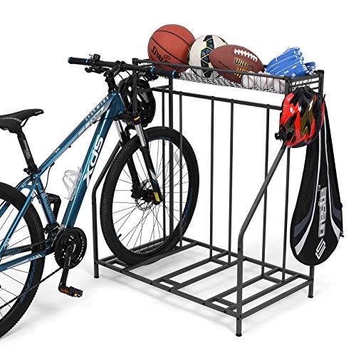 Bike Stand Rack 3 Bicycle Floor Parking Stand Bike Rack for Garage Storage3 Widths Adjustable Bike Slot for Mountain Hybrid Kids Bicycles Indoor Outdoor Bike and Sports Storage Station