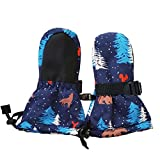 Waterproof Stay-on Snow Mittens for Baby Toddler Kids (XS: 0-2Y, Snow Mitten: Woodland)