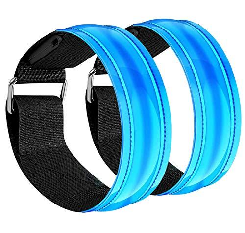 Lunriwis LED Armband Aufladbar,2 Stück Leuchtband mit USB,Kinder Nacht Sicherheits Licht für Laufen, Lauflicht mit Reflektorband,für Laufen Joggen Radfahren Hundewandern Running Outdoor- Sportarten