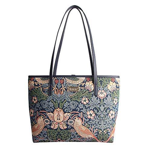 New Signare Tapisserie Umhängetasche Damen Schultertasche Damen und Handtaschen Damen mit William Morris Designs (Erdbeerdieb Blau)