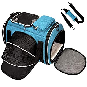 Pet Carrier Airline Approved, Cat Carriers for Cat and Small Dogs, Small Dog Carrier for Travel with 4 Open Doors, 5 Ventilation Mesh, Safety Locking Zipper