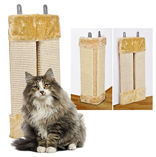 Oramics 2er Set 2in1 Katzen Kratzbrett für Wand und Ecke zum Aufhängen - Wandkratzbrett Eckkratzbrett aus Natursisal und Plüsch 50x23x3cm - Sisal Kratzmatte Kratzpad als Kantenschutz (Beige, 2 Stück)