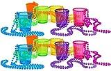 com-four® 12x Schnapsgläser mit Kette zum Umhängen in verschiedenen Farben [Farbauswahl variiert]...