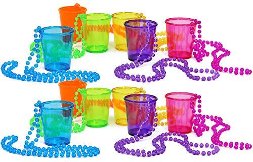 com-four® 12x Schnapsgläser mit Kette zum Umhängen in verschiedenen Farben [Farbauswahl variiert] - Shotglas für Karneval, JGA, Fasching etc. - 45 ml (4,5 cl) (12 Stück - bunt)