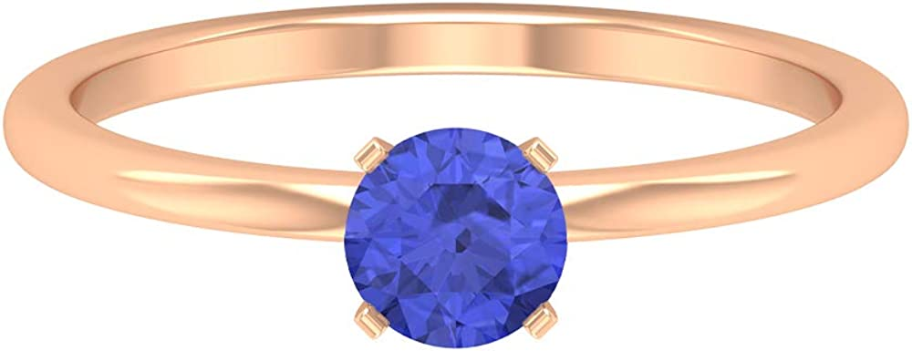 5 MM Tanzanite Solitaire Ring, Simple Engagement Ring, Solid Gold Wedding Ring, 14K Gold