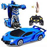Janboo 1:14 RC Cars Robot for Kids, Transformrobot Racing Toys, Gesture Sensing Remote Control Car with One-Button Deformation Auto Demo, 360° Rotation Light Music Car Best Gift for Boys Girls (Blue)