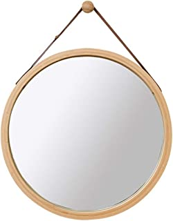 Qing MEI Nordic Round Wall-Mounted Bathroom Mirror Slings Can Be Raised and Lowered Dressing Table Mirror Bedroom Decorative Wood Mirror (Size : 38x38cm)