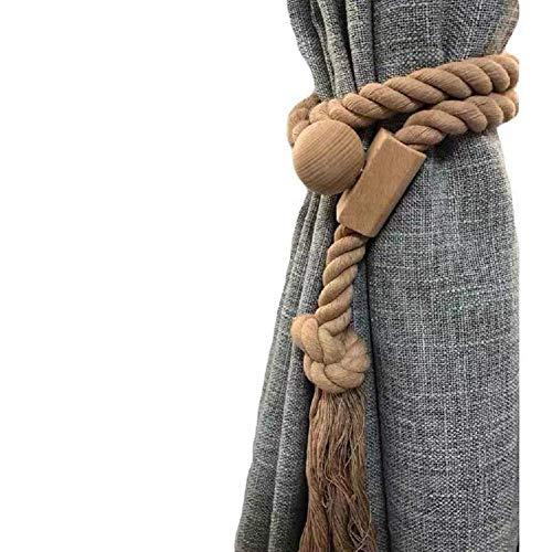 Y AKAGI Juego de 2 alzapaños magnéticos de cuerda de algodón para cortinas hechas a mano con borlas de estilo europeo