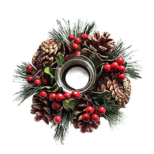 Minear Portavelas de Navidad, Guirnalda de piñas de Abeto, Berry ...