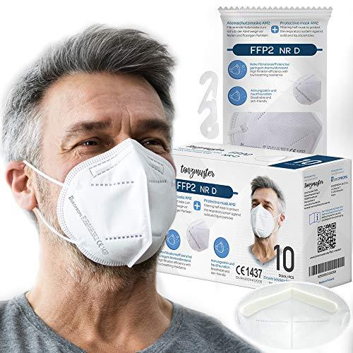 EUROPROFIL FFP2 Maske CE zertifiziert - 10 x einzeln verpackt - Glasfaserfrei - in EU hergestellt - Masken Mundschutz mit Schaumstoff Polster - Atemschutzmaske EN 149:2001+A1:2009 - Prüfstelle CE1437