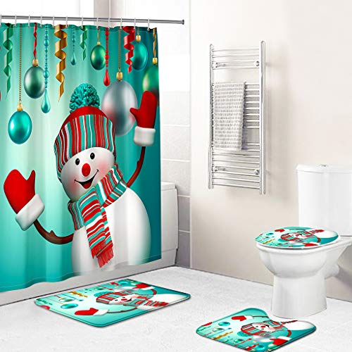 Merry Christmas Shower Curtain Set for Bathroom, 4 Pcs Xmas Shower Curtain/ Non-Slip Bathroom Rugs/ Lid Toilet Cover/ Bath Mat, Funny Santa Claus Christmas Snowman Carpet Decor