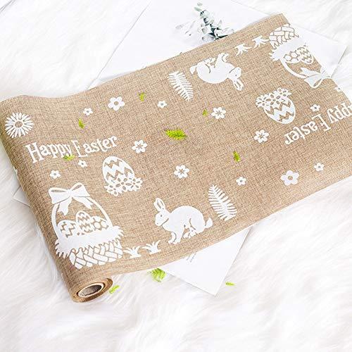 SJTL 2 stks Pasen Bunny Complete Tafelkleed Set Naaldwerk Borduren Kit voor Beginners Volwassenen afdrukken Borduren Kit 270×28CM