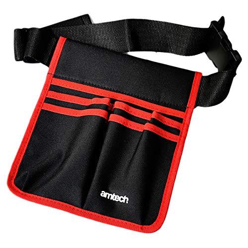 Amtech N0985 Werkzeugtasche mit 5 Taschen, leicht, mit verstellbarem Gürtel, Schwarz und Rot