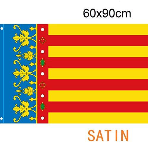 Durabol Bandera de Valencia Comunidades autónomas de España 60 * 90 cm Satin 2 Anillas metálicas fijadas en el Dobladillo