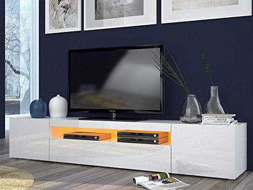 möbelando TV-Lowboard Longboard HiFi Rack Unterschrank Tisch Daiquiri II (Weiß-Hochglanz)