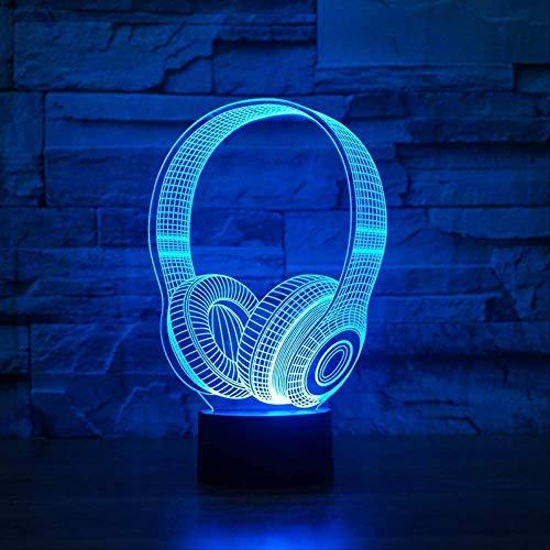 Kinder Geburtstag Beste Geschenke 3D DJ Kopfhörer Form Nachtlicht LED Tischlampe Schlafzimmer Dekor Musik Bunte Kopfhörer Schlafbeleuchtung